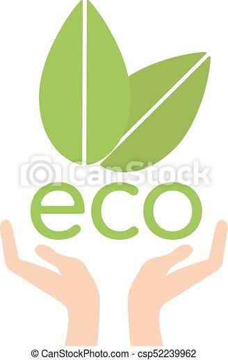 ecologia, natura, eco, foglie, porzione, concetto, vector., mano - csp52239962