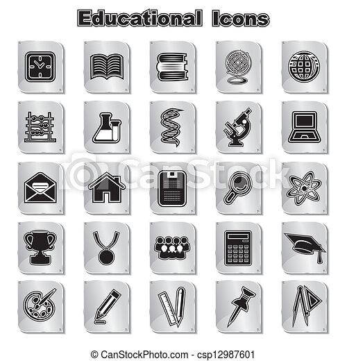 educativo, set, icone - csp12987601