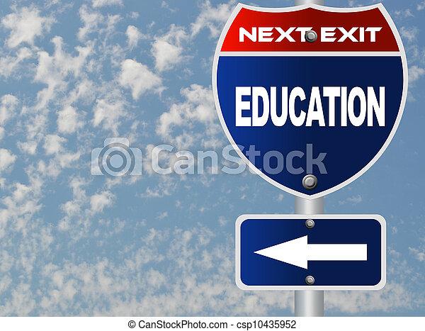 educazione, segno strada - csp10435952