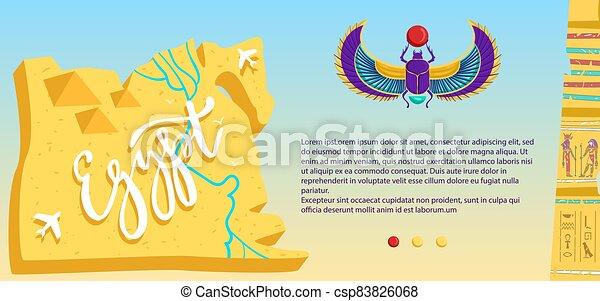 egiziano, rovine, pietra, piramide, cartone animato, aeroplano, illustrazione, egitto, vettore, appartamento, viaggiare, volare, mappa, antico, bandiera, deserto, scarabeo - csp83826068
