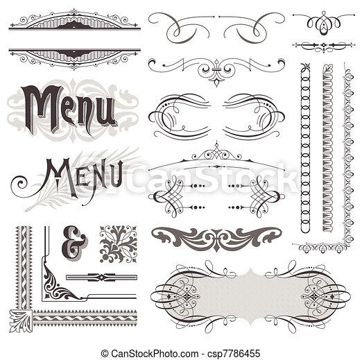 elementi decorativi, &, calligraphic, vettore, disegno, decorazioni, ornare, pagina - csp7786455