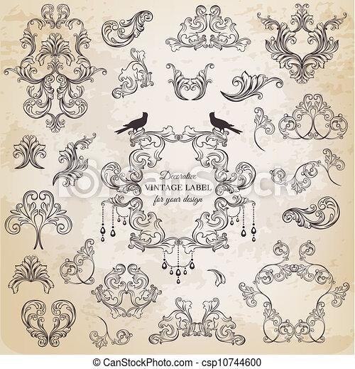elementi, decorazione, cornice, collezione, calligraphic, vettore, disegno, vendemmia, fiori, pagina, set: - csp10744600