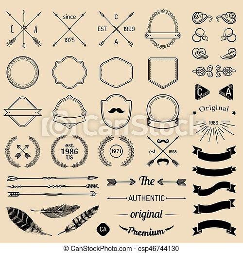 elementi, sagoma, nastri, constructor., creator., logotipo, laurels, emblema, penne, iicon, badges., vendemmia, frecce, hipster - csp46744130