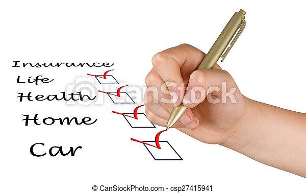 elenco, assicurazione - csp27415941