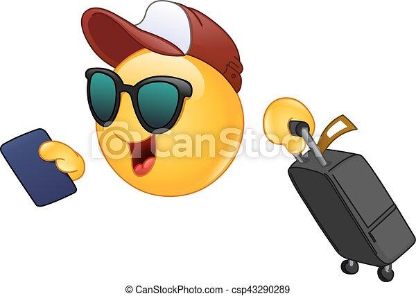 emoticon, viaggiatore, aria - csp43290289