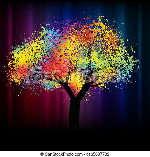 .eps, colorito, spazio, astratto, albero., 8, copia - csp5607702