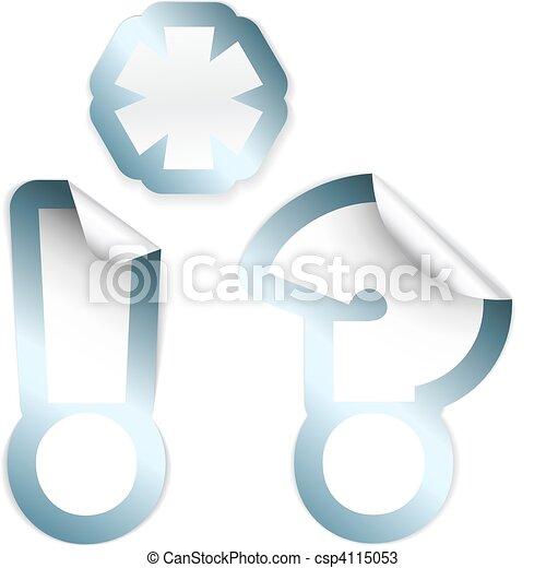 esclamazione, set, premio, -, etichette, punto interrogativo, asterisco - csp4115053