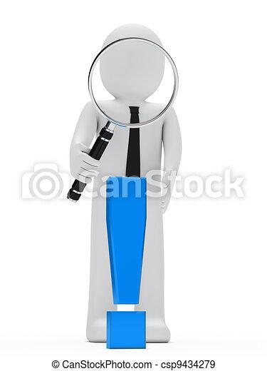 esclamazione, uomo affari, lente ingrandimento, marchio - csp9434279