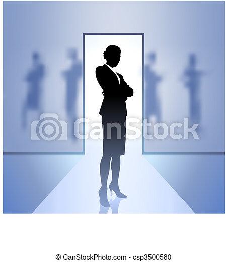 esecutivo, fondo, donna d'affari, fuoco, blurry - csp3500580