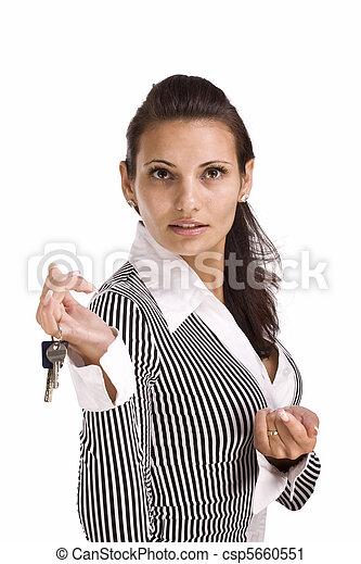 esposizione, donna, chiave - csp5660551