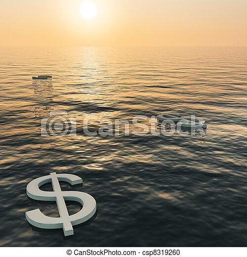 esposizione, ricchezza, soldi, dollari, tramonto, guadagni, galleggiante, o - csp8319260