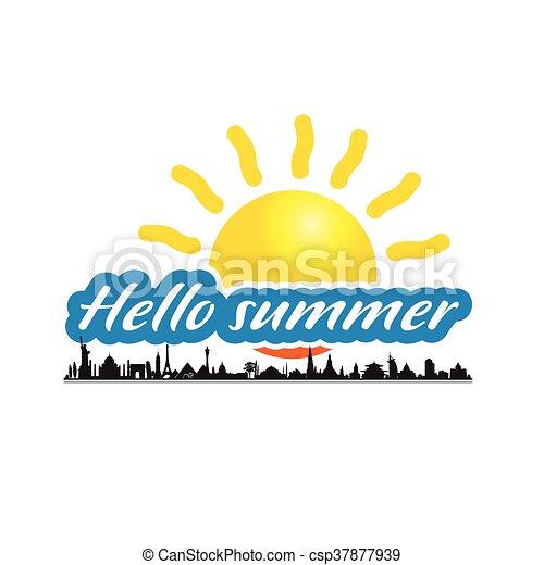 estate, antico, ciao, illustrazione, monumento - csp37877939