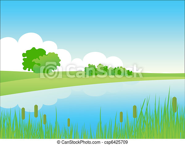 estate, sponda, paesaggio. - csp6425709