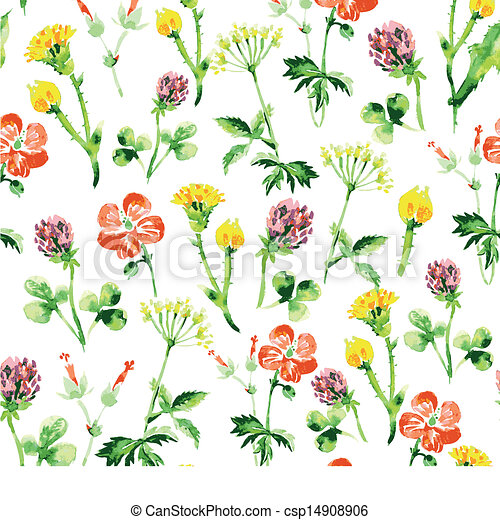 estate, vendemmia, pattern., seamless, acquarello, wildflowers, retro, fondo, floreale - csp14908906