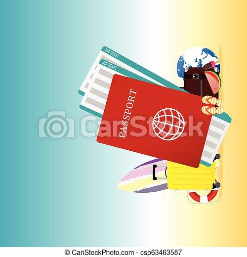 estate, viaggiare, illustrazione, passaporto - csp63463587
