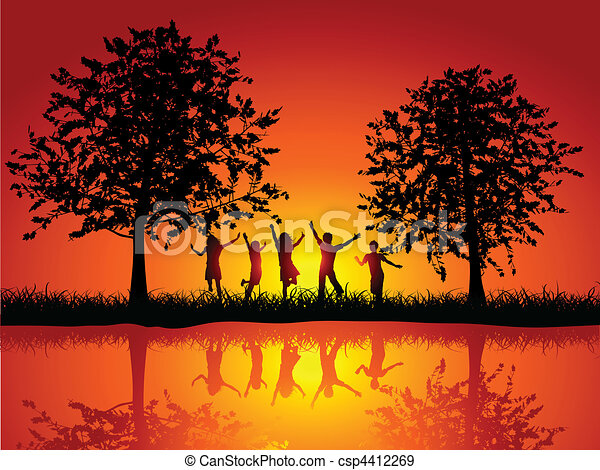 esterno, bambini giocando - csp4412269