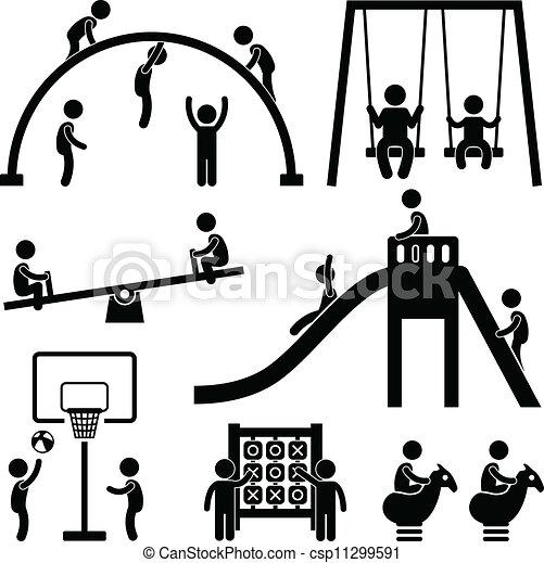 esterno, parco, bambini, campo di gioco - csp11299591