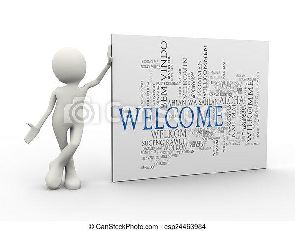 etichette, benvenuto, uomo, wordcloud, standing, 3d, parola - csp24463984