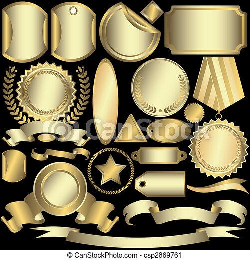 etichette, dorato, (vector), set, argenteo - csp2869761