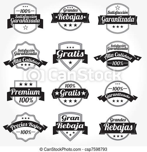 etichette, vettore, set, retro, spagnolo - csp7598793