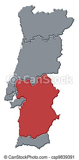 Cartina Politica Portogallo Con Regioni.Evidenziato Mappa Alentejo Portogallo Mappa Portogallo Politico Regioni Highlighted Alentejo Parecchi Dove Canstock