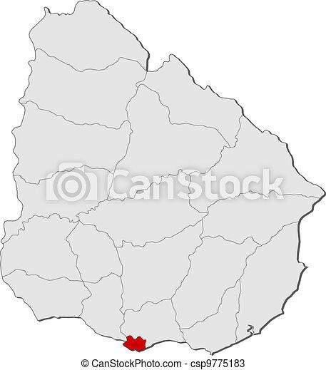 evidenziato, mappa, uruguay, montevideo - csp9775183