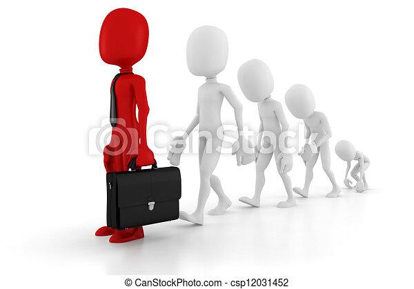evoluzione, 3d, uomo affari - csp12031452