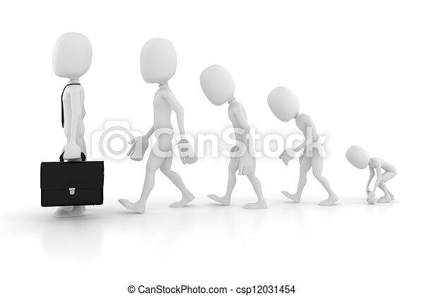 evoluzione, 3d, uomo affari - csp12031454