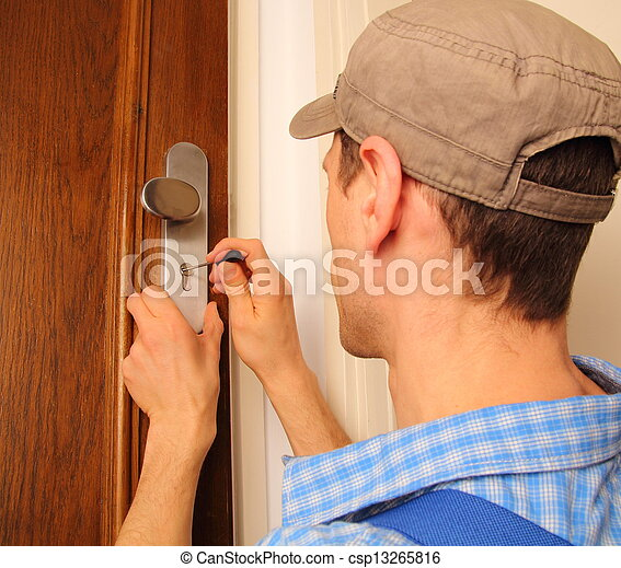 fabbro, porta, apertura - csp13265816