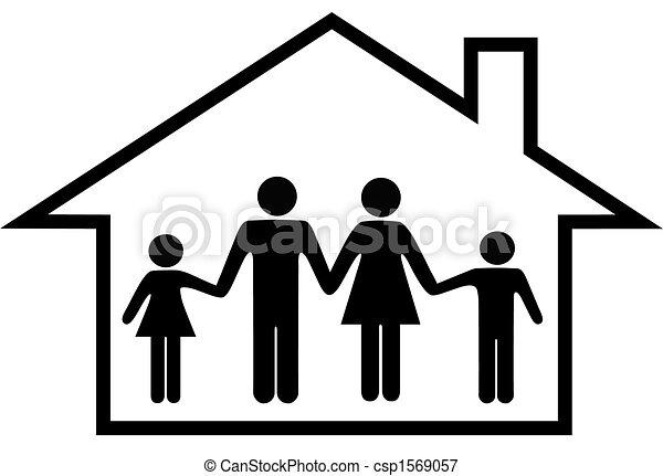 famiglia, casa, sicuro, genitori, casa, bambini, felice - csp1569057