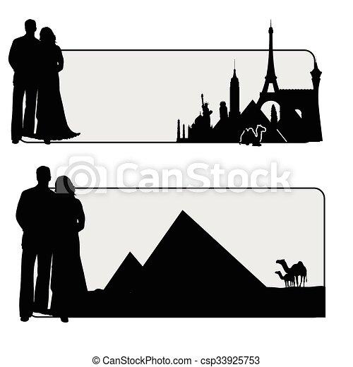 famoso, coppia, illustrazione, monumento - csp33925753