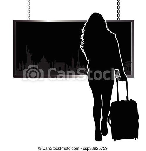 famoso, viaggiare, ragazza, illustrazione, monumento - csp33925759