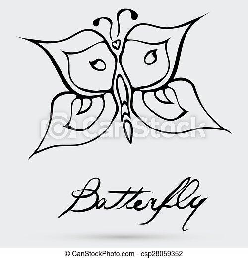 farfalla, astratto, vettore - csp28059352