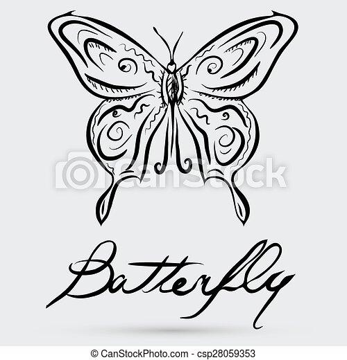 farfalla, astratto, vettore - csp28059353
