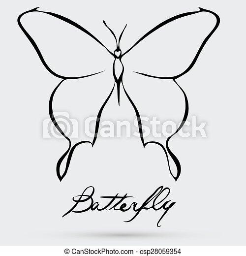 farfalla, astratto, vettore - csp28059354