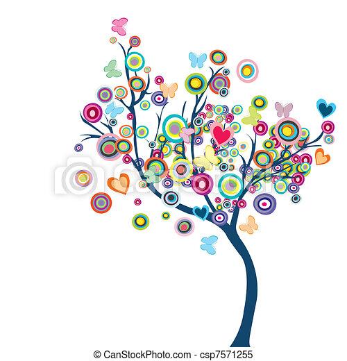 farfalle, fiori, albero, colorato, felice - csp7571255
