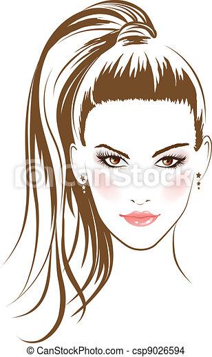fascino, capelli, ragazza, faccia lunga - csp9026594