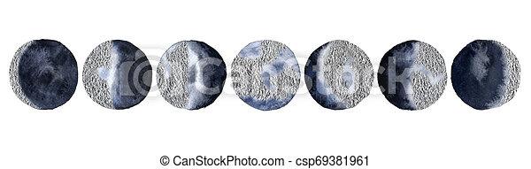 fasi, isolato, luna, fondo., silver., bianco - csp69381961