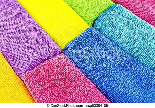 fatto, materiale, accatastato, colori, lato, lato, cima, vista., differente, fondo, microfiber - csp83384105