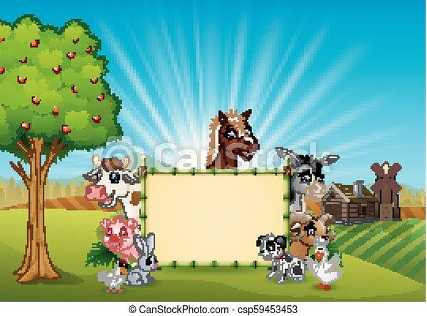 fattoria, bambù, vuoto, animali, segno - csp59453453