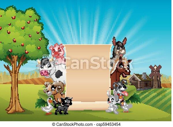 fattoria, bambù, vuoto, animali, segno - csp59453454