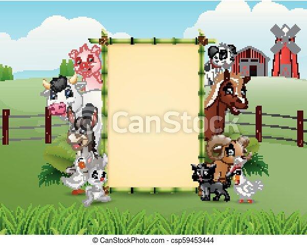 fattoria, bambù, vuoto, animali, segno - csp59453444