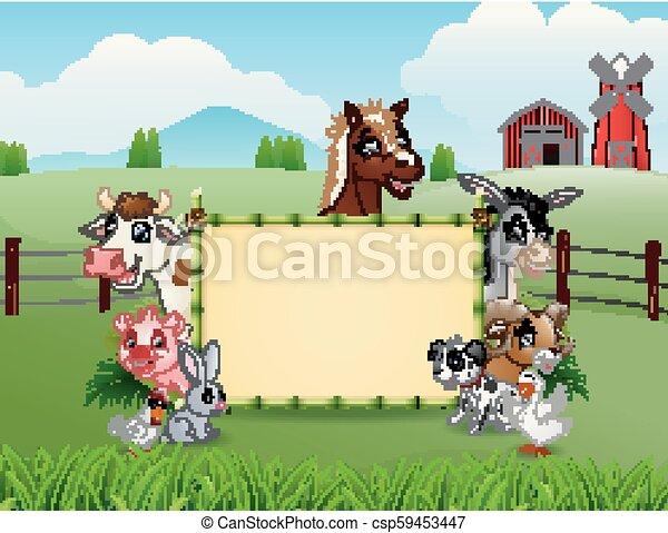 fattoria, bambù, vuoto, animali, segno - csp59453447