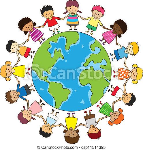 felice, bambini tengono mani - csp11514395