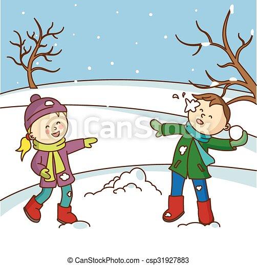 felice, lancio, bambini, gioco, snowbal - csp31927883