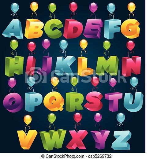festa, 3d, alfabeto - csp5269732