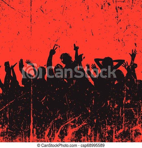 festa, grunge, folla, fondo - csp68995589