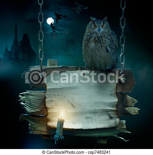 festa halloween, fondo, disegno - csp7483241