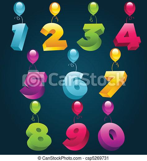 festa, numeri, 3d - csp5269731