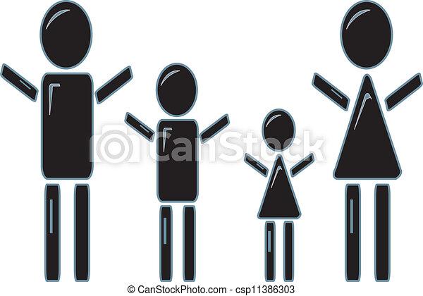 figura, bastone, famiglia - csp11386303
